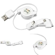 3 in 1 Retractable Mini Micro USB Sync Charger Cable for iPod iPhone 4 4S 3G HTC