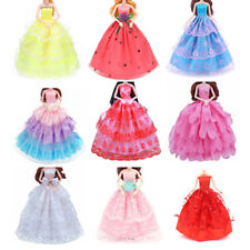 Mix Handmade Doll Dress Barbie Doll Wedding Party Bridal Princess Gown Clothes-`
