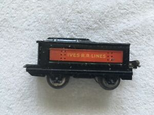 RARE IVES R.R. LINES 4 WHEEL TIN TENDER, VG/VG+ Condition