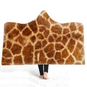 Animal Skin Fur Snake Tiger Giraffe Zebra Sherpa Fleece Hooded Blanket Throw