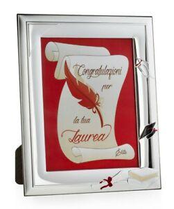 Cornice Porta Foto 15x20 In Argento Regalo Laurea ELITE E 1006 15X20