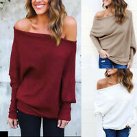 Plus Size Women Off the Shoulder Chunky Knit Jumper Ladies Baggy Sweater Top