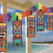 HAWAIIAN LUAU TIKI HEAD FLOWER GARLAND BEACH PARTY HANGING DECORATION