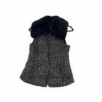 White House Black Market Vest Faux Fur Collar Black Wool Blend Women's Size XS