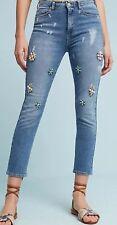 Anthropologie Pilcro Embellished Bejeweled Floral High Rise Skinny Jeans Size 32