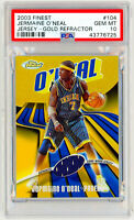JERMAINE O'NEAL 2003 Topps Finest #104 GOLD REFRACTOR /25 Jersey Relic PSA 10