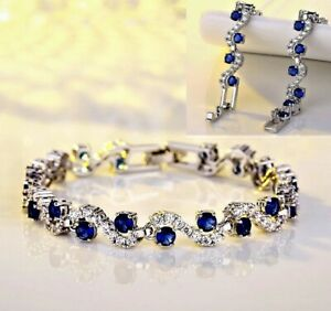 Kristall Saphir blau Brilliant-Imitat Armband 925 Sterling Silber plattiert 19cm