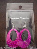Ladies 60s 70s Mod Earrings, Hippy Hippie Fancy Dress, Pink Blue Earrings
