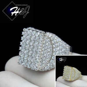 MEN 925 STERLING SILVER ICY DIAMOND GOLD/SILVER ICY BLING 3D RECTANGLE RING*S147