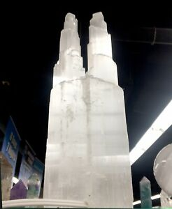 "XL Selenite Tower Lamp "" White Natural Crystal Light LED Cord Double Twin Tower"