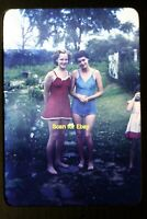 Pretty Young Women in Bathing Suits in 1945, Kodachrome Slide aa 10-25a