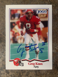signed in person   GREG KNOX   CFL  Calgary Stampeders   JOGO # 140   1994