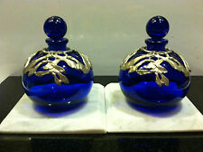Vanity Set of Cobalt Blue Filigree Perfume Bottles with Marble Base Displays