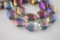 10pcs 16X12mm Oval Faceted Crystal Glass Charms Loose Beads Purple Colorized New