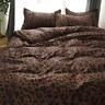 Leopard-print Coffee Bedding Set Duvet Quilt Cover+Sheet+Pillow Case Four-Piece