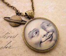 Vintage Man In The Moon Steampunk Cabochon Pendant Necklace Rockabilly Goth