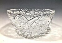 Vintage Brilliant American Heavy Cut Glass Serving Bowl -