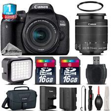 Canon Rebel 800D T7i Camera + 18-55mm + LED + CASE +EXT BAT +32GB +1yr Warranty