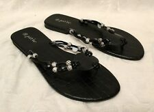Women's JUST BE Size 10 Black Gray Beaded Straps Summer Flats SANDALS Thong