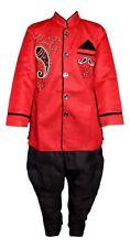 Boys Sherwani Red Black Kurta Pajama Indian Bollywood Fancy Dress Age 5 6 7 8