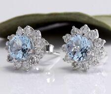 New Women's Fashion 925 Solid Silver Flower Aquamarine Stud Hoop Earring Jewelry