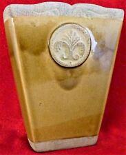 """Ceramic Brown Drip Glaze Fleur De Lis Vase 8"""" Age Design"""
