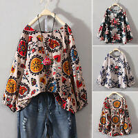 Plus Size Women Boho Floral T-Shirt Casual Long Sleeve Blouse Loose Tops Tunic