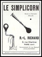 Publicité  Simplicorne Avertisseur Accessoires car vintage print ad  1931 - 2h