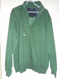 NWT Izod Green zip front Size L Pullover Casual Shirt Retail $62 cotton blend