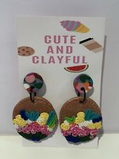 Cute And Clayful Drop Eartings - Flowers Floral - 5cm