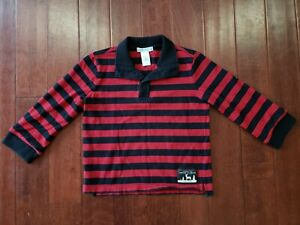JANIE & JACK RED BLACK STRIPED RUGBY POLO SHIRT LONG SLEEVE SIZE 4
