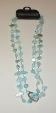 "Blue Crystal and Shell Necklace 47.25"" Beads Aria Lights Free Twist Clip New"