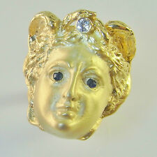 MEDUSA 18K gold ring Cameo Diamond Sapphire Archaeological Revival Face R2279