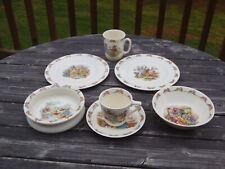 Royal Doulton Bunnykins Child Baby 7 Pc Dish Lot Plates Bowls Mug Cup Saucer Ec