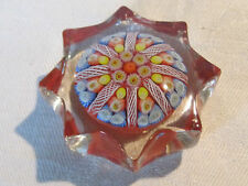 Vintage Strathearn star shaped glass millefiori latticino paperweight, Scotland