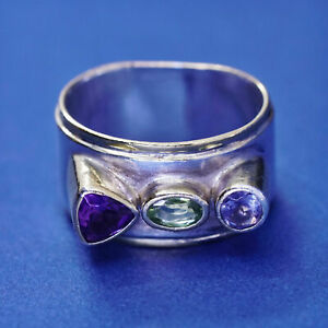 sz 5, two tone 14K gold trim Sterling silver ring, 925 band sapphire amethyst