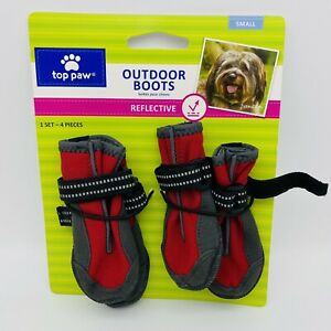 NEW Top Paw Red Reflective Protective Dog Outdoor Rain/Snow Boots - Sz Small