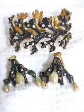 VTG Sign Frederick Mosell Goldplate Coral Rhinestone Pearl Bracelet Earrings Set