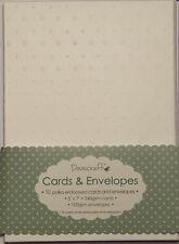"10 x 5x7"" White Spotty Polka Dot Embossed Card Blanks + Envelopes Wedding Craft"