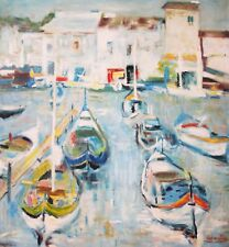EUGENE BABOULENE-French Modernist-Large Original Signed Oil-Boat Harbor