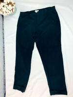 Women's J. Jill Size 12 Pull On Black Stretch Dress Pants Straight Leg Cuffed