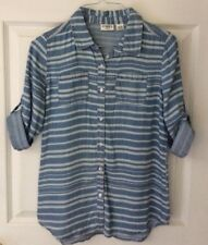 Cato Girls 3/4 Sleeve Denim Shirt Size 14 16 Large Button Down layered Chambray