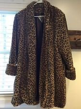 J PERCY for MARVIN RICHARDS LEOPARD FAUX FUR KNEE LENGTH SWING STYLE WOMENS COAT