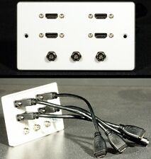Audio Visual AV Wall Face Plate, 4 x HDMI & 3 x F-type Satellite / Cable sockets