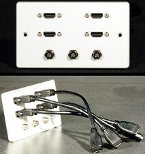AUDIO / VIDEO AV Wall Face Plate, 4 x HDMI & 3 X F-Type Satellite / Cavo Sockets