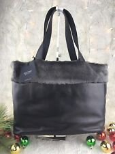NWT Large Lisa Conte Italian Leather Tote Handbag with shearling Super Soft!