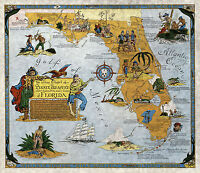 Florida Buried Treasure Hunting Pirate Map Poster Wall Art Print Vintage Style