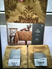 Damask tablecloth and 4 napkins GOLD