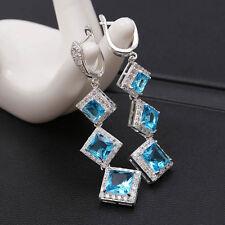 Women Fashion 925 Sterling Silver Blue Aquamarine Drop Dangle Hoop Earring