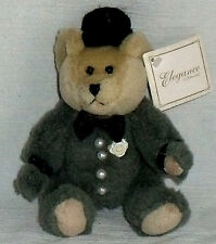 "Groom Teddy Bear 6.25"" Amscan Cherished Bouquet Gray Plush Stuffed Toy"